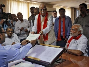 A file photo from 2014 after senior BJP leader LK Advani filed his nomination. Prime Minister Narendra Modi is also present. Reuters