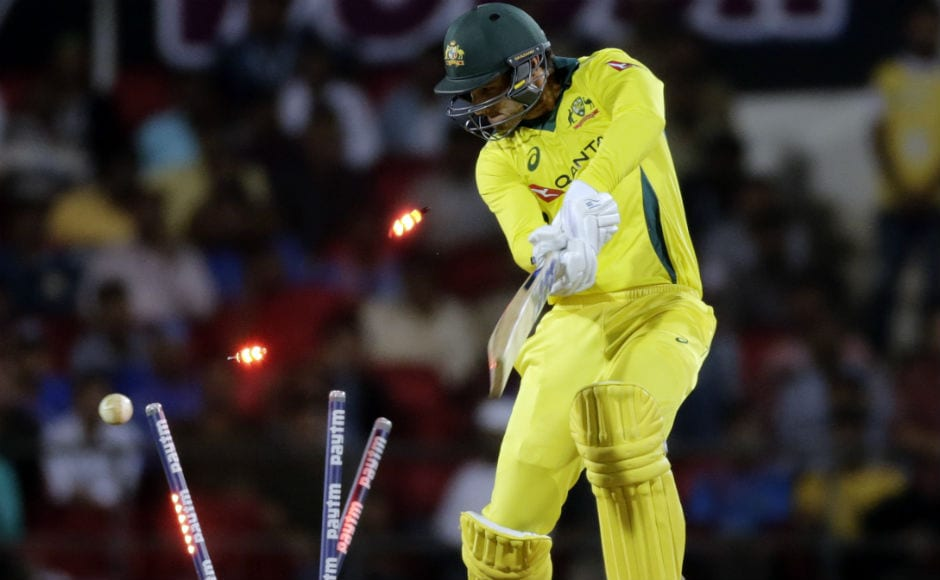 Nathan Coulter-Nile gets his stumps rattled by Jasprit Bumrah in the 46th over of the Australian innings. AP