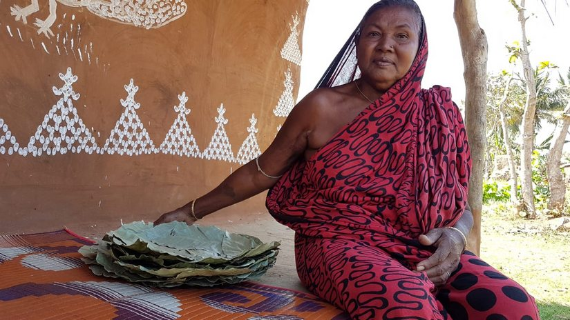 Plates made of sal leaf find big orders in towns and is a major occupation for the tribals. Manish Kumar/101Reporters