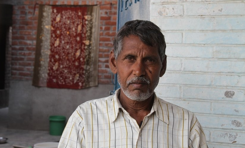 Vinod Kumar of Simaur village is forced to guard his crops for hours: Image courtesy: Vivian Fernandes