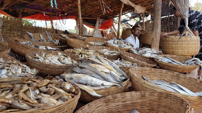 A fish shop of dry fish on the National Highway betwen Bhubaneswar-Khurda