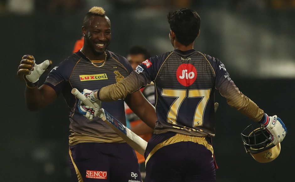 Andre Russell slammed 49 off 19 as Kolkata Knight Riders scored an improbable 53 runs in last three overs to beat Sunrisers Hyderabad by six wickets in the first match of the sides in IPL 2019. Sportszpics