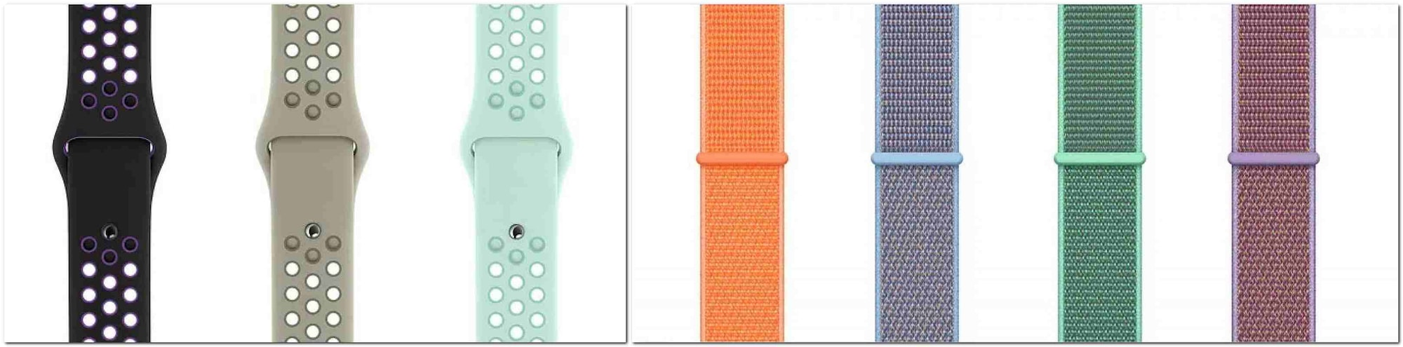 The new Apple Watch Nike Sport Band lineup. Image: Apple