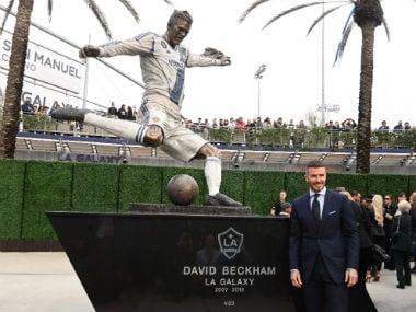 Major League Soccer: LA Galaxy unveil statue of former star David Beckham outside stadium as new season kicks off