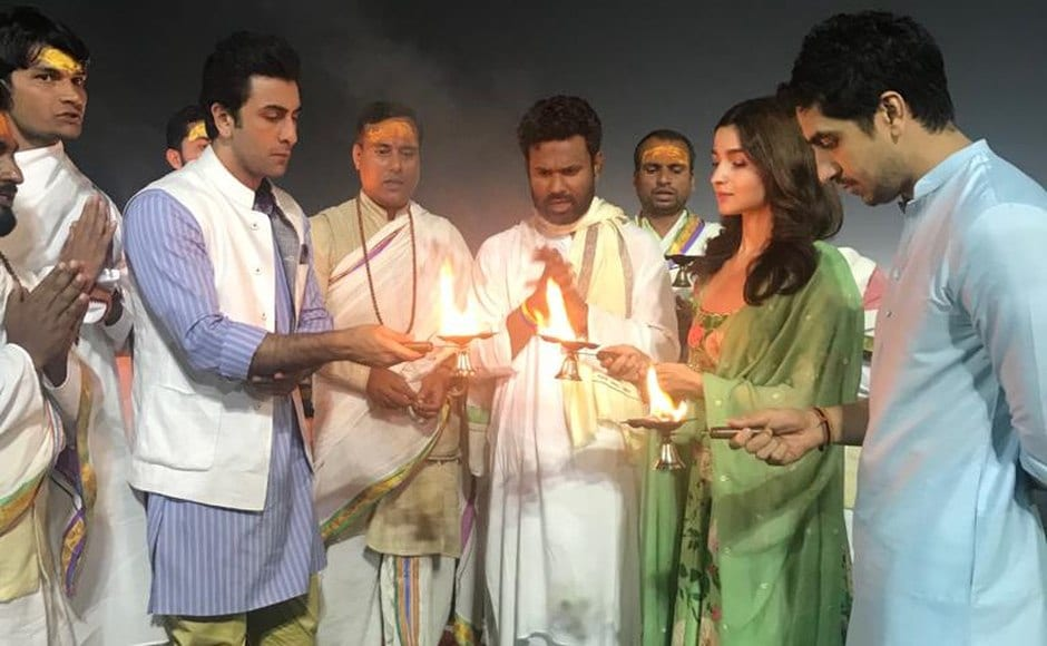 The Brahmāstra team perform a puja before the logo launch.
