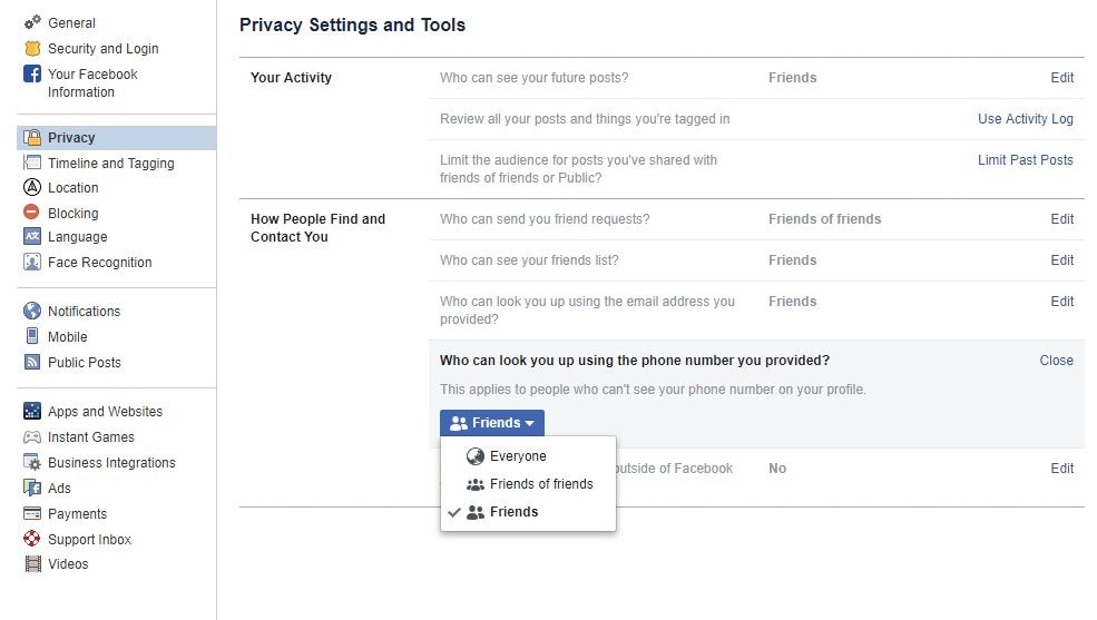 Facebook Privacy for phone numbers