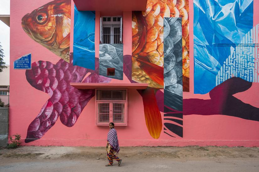 Mural by H11235. Photograph courtesy of Lodhi Art Fest 2019/PranavGohil