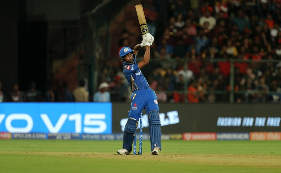 Hardik Pandya took control of Mumbai's innings after the middle-order collapse as he blasted 32 off 14 to help them reach 187/8 after 20 overs. Sportzpics