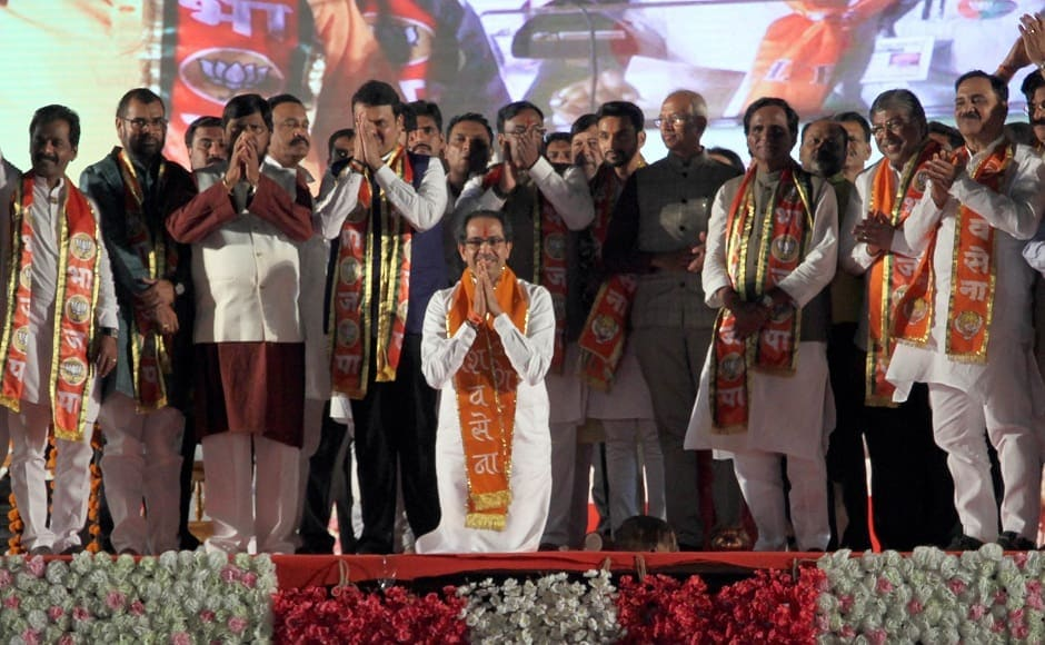 At the rally held in Kolkapur, both Fadnavis and Shiv Sena chief Uddhav Thackeray hit out at NCP supremo Sharad Pawar for destroying Maharashtra in the long span of his political career. Kolhapur is known to be the NCP and Congress' stronghold. Image Courtesy: Sachin Gokhale/Firstpost