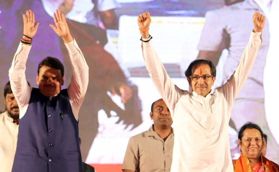 In the first rally held jointly by the BJP and Shiv Sena, which have entered into an alliance for the Lok Sabha polls in Maharashtra, Chief Minister Devendra Fadnavis slammed the Congress for questioning the India-Pakistan strikes. Image Courtesy: Sachin Gokhale/Firstpost