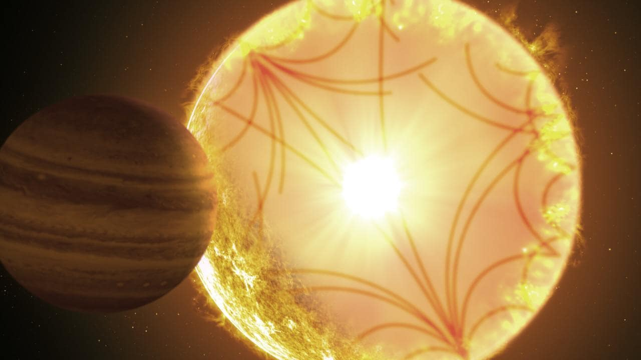 An artist's concept of the Kepler-1658-like system with an exoplanet and its sun. Image credit: Instituto de Astrofísica de Canarias