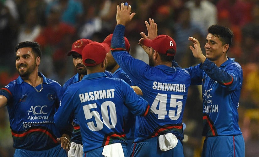 Mujeeb Ur Rahman (extreme right) ended up as Afghanistan's leading wicket-taker in Ireland ODI series. AFP file image