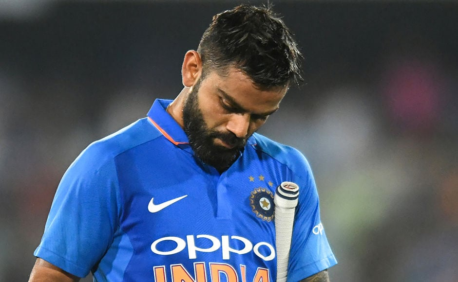 Indian cricket captain Virat Kohli  slammed 44 runs before he was trapped in front of the stumps by leggie Adam Zampa. Till then Kohli was going at a good speed. Soon after his departure, Rohit Sharma followed his footsteps to the dressing room after making 37 off 66 balls. AFP