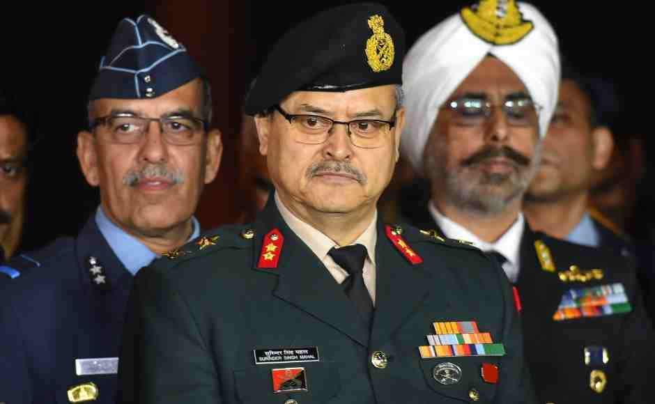 (L to R) Air Vice Marshal RGK Kapoor, Major General Surinder Singh Mahal and Rear Admiral Dalbir Singh Gujral at a military press conference at South Block in New Delhi on Thursday. PTI
