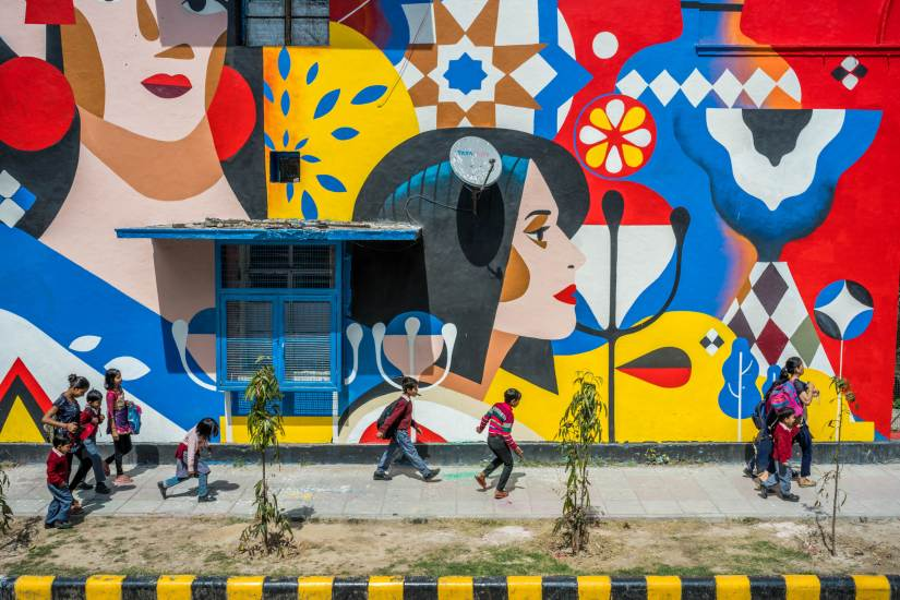 Delhi's Lodhi Colony turns into an art district as 30 artists paint murals, as part of a St+art India project