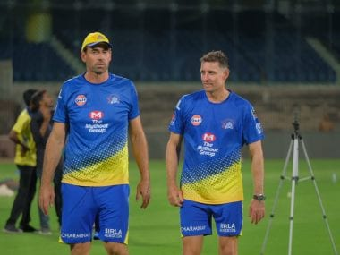Stephen Fleming and Michael Hussey during a training session of Chennai Super Kings. Twitter @ChennaiIPL
