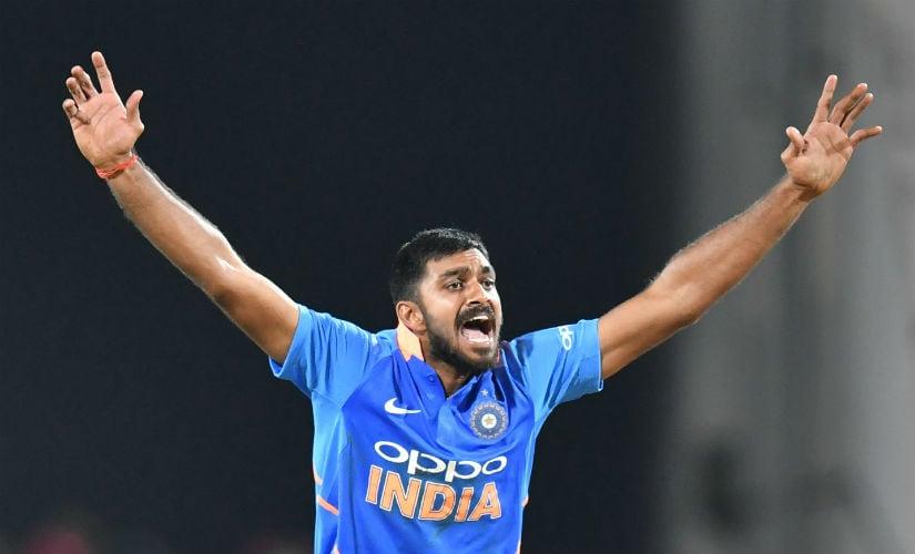 Vijay Shankar played a vital role with both bat and ball to help India win the Nagpur ODI. AFP