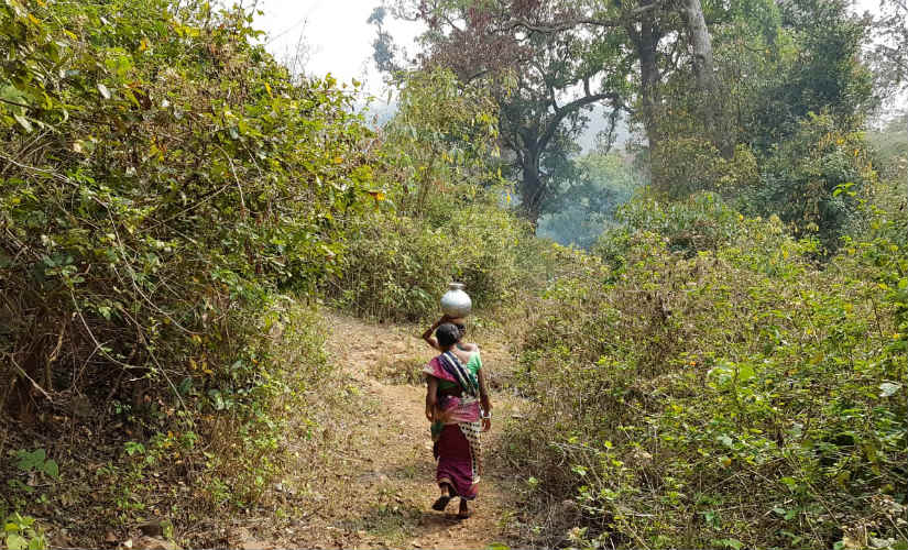 Most women have to travel long distances in search of water in the district. Image courtesy: 101Reporters