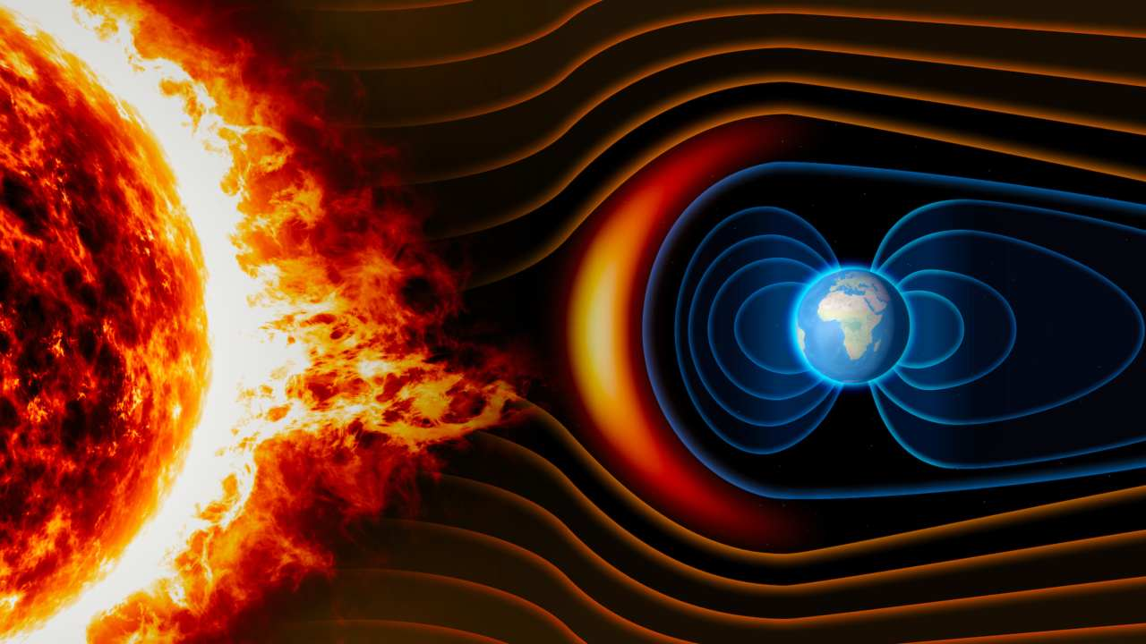 When solar wind collides with Earth's magnetic field. Image courtesy: NOAA/National Geophysical Data Cantre