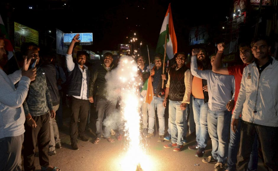 BJP workers in Ranchi celebrate after the release of Varthaman by Pakistan. PTI
