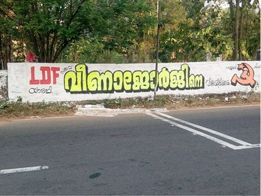 In Kerala, UDF, BJPs poll campaigns hit a wall as high court bans flex boards for campaigning; LDF banks on graffiti