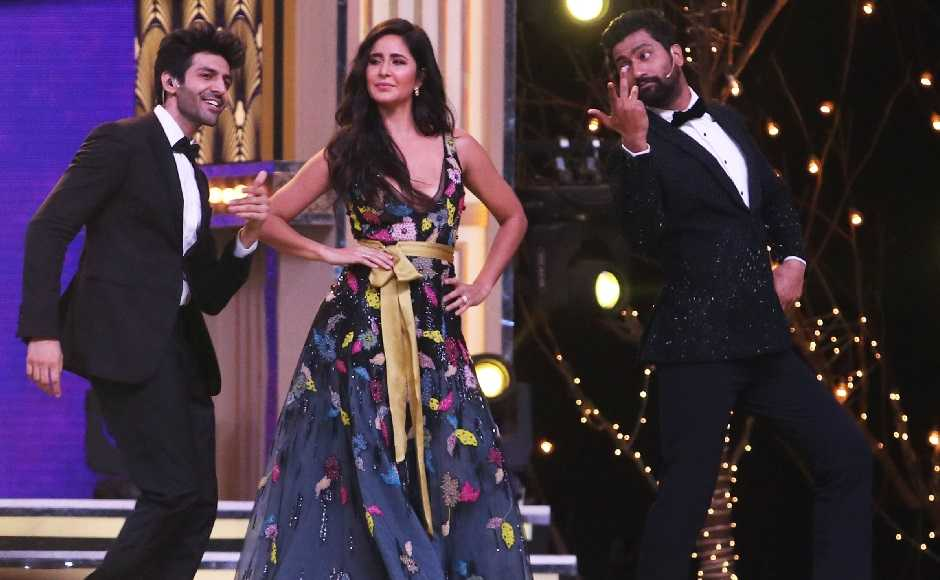 Katrina Kaif shakes a leg with Aaryan and Kaushal. Firstpost/Sachin Gokhale