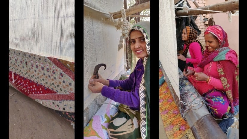 L-R: A Manchaha rug in the making; Anita; Visiting members of the family often don't hesitate to join in the weaving