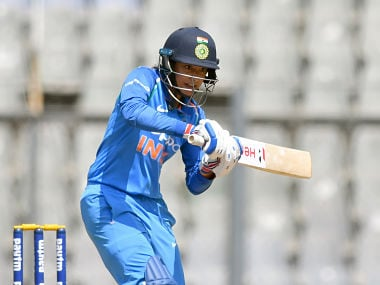 India's Smriti Mandhana plays a shot during the second match of the women's one day international (ODI) cricket series between India and England at the Wankhede Stadium in Mumbai on February 25, 2019. (Photo by PUNIT PARANJPE / AFP) / ---IMAGE RESTRICTED TO EDITORIAL USE - STRICTLY NO COMMERCIAL USE----- / GETTYOUT