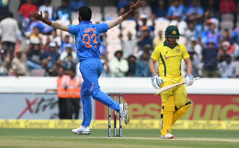 Australian captain won the toss and decided to bat first. The coin fell in his favour but the luck did not smile at him as he edged a ripper from Jasprit Bumrah behind the wickets in only the second over of the match.