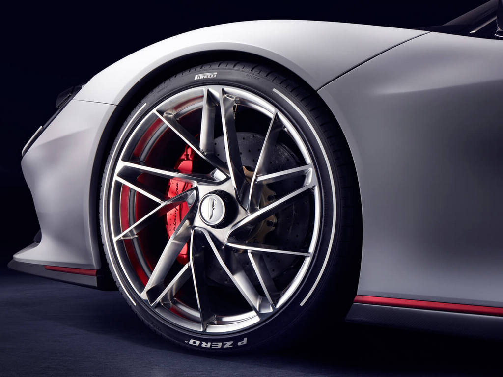 Pininfarina Battista has carbon-ceramic, six-piston brakes sporting 390 mm shocks at the front and rear. The six-piston brakes are inspired by the ones used in Formula 1 cars.