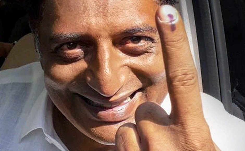 Actor and Bengaluru Central independent candidate Prakash Raj casted his vote on 18 April. PTI