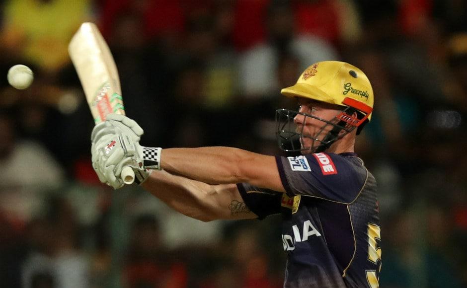 Chris Lynn plays a shot during his innings of 43 off 31 balls. Sportzpics