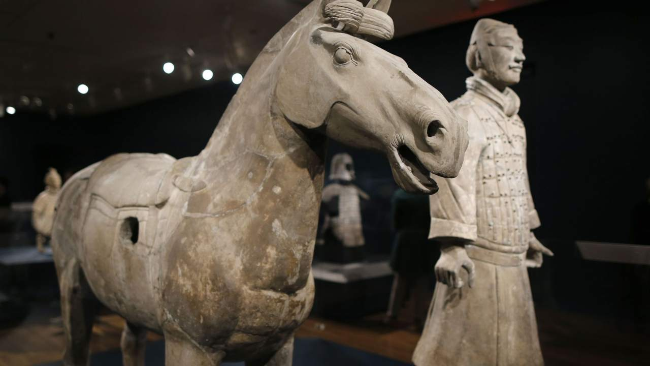 A Terracota warrior and his horse up close. Image: Reuters