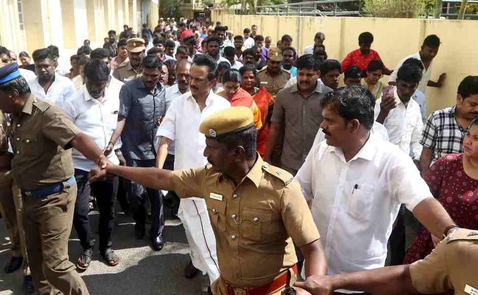 Dravida Munnetra Kazhagam (DMK) leader MK Stalin walks outside a polling station after casting his vote in Chennai. AP