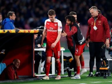 Europa League: Aaron Ramsey may have played his final Arsenal game after limping off with injury during win over Napoli