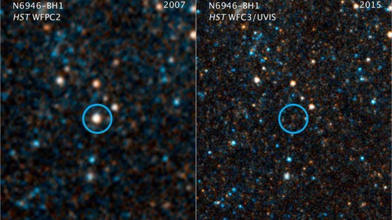 This image shows visible/near-infrared images taken by NASA's Hubble telescope showing a massive star ~25 times the Sun's mass, that has winked out of existence – leaving no supernova or other explanation behind. Image: NASA/ESA/C. Kochanek