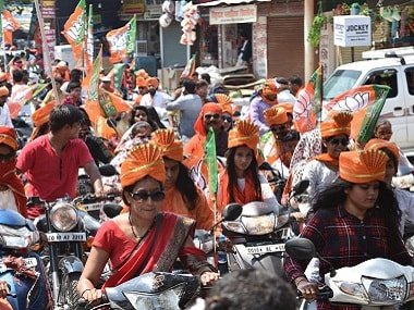 BJP women workers and ABVP activists at a bike rally in Chhattisgarh. Firstpost/Debobrat Ghose