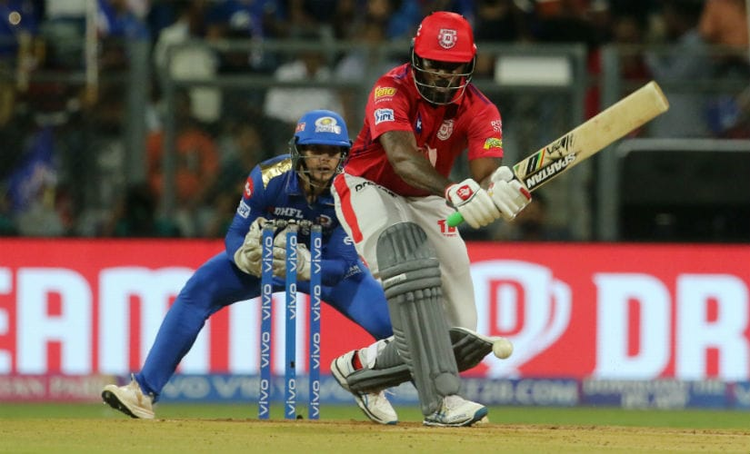 Chris Gayle in action against Mumbai Indians on Wednesday. Sportzpics