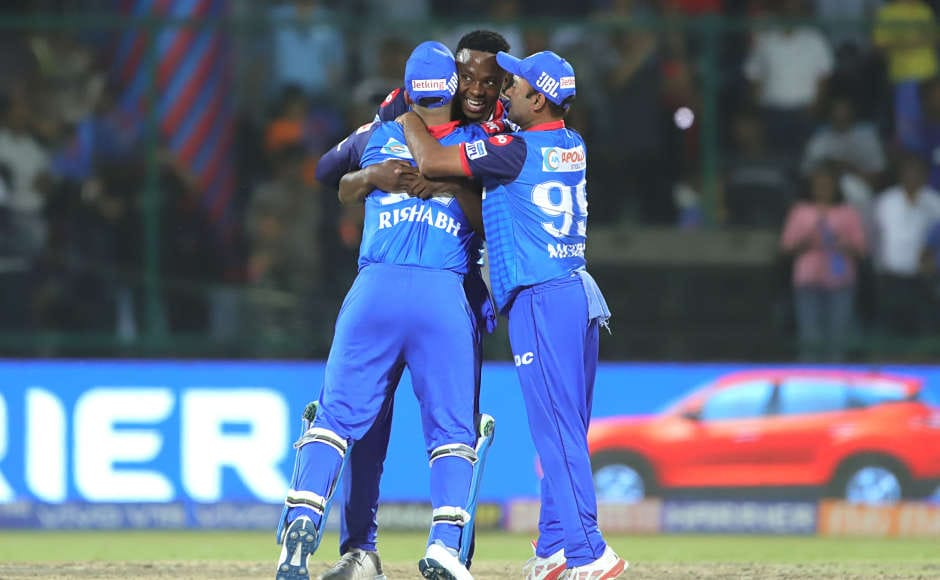 Delhi Capitals benefited a lot from the good show of Kagiso Rabada (centre) who grabbed two keywicketsincluding that of Parthiv Patel to help Delhi dominate the game from the beginning. Sportzpics
