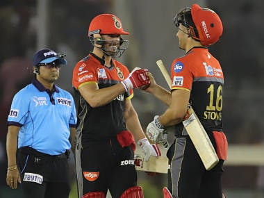 AB de Villiers and Marcus Stoinis of Royal Challengers Bangalore celebrate after winning the match against Kings XI Punjab. Sportzpics