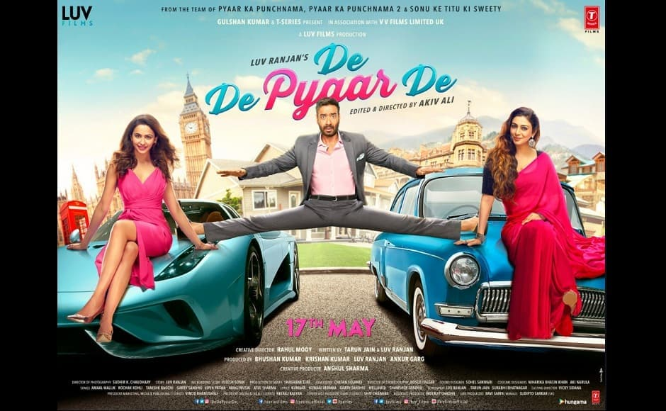 De De Pyaar De's first poster, featured a terrified looking Devgn, suspended mid-air between two cars, a pose he has been seen in from his debut Phool Aur Kaante. Twitter