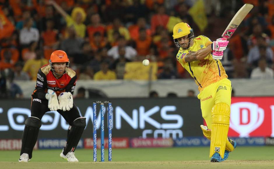 Faf du Plessis continued his good form at the top of the order as he smashed 45 of 31 balls to give CSK a good start but poor batting from following batsmen and some disciplined bowling from SRH restricted Chennai to 132/5 in 20 overs. Sportzpics