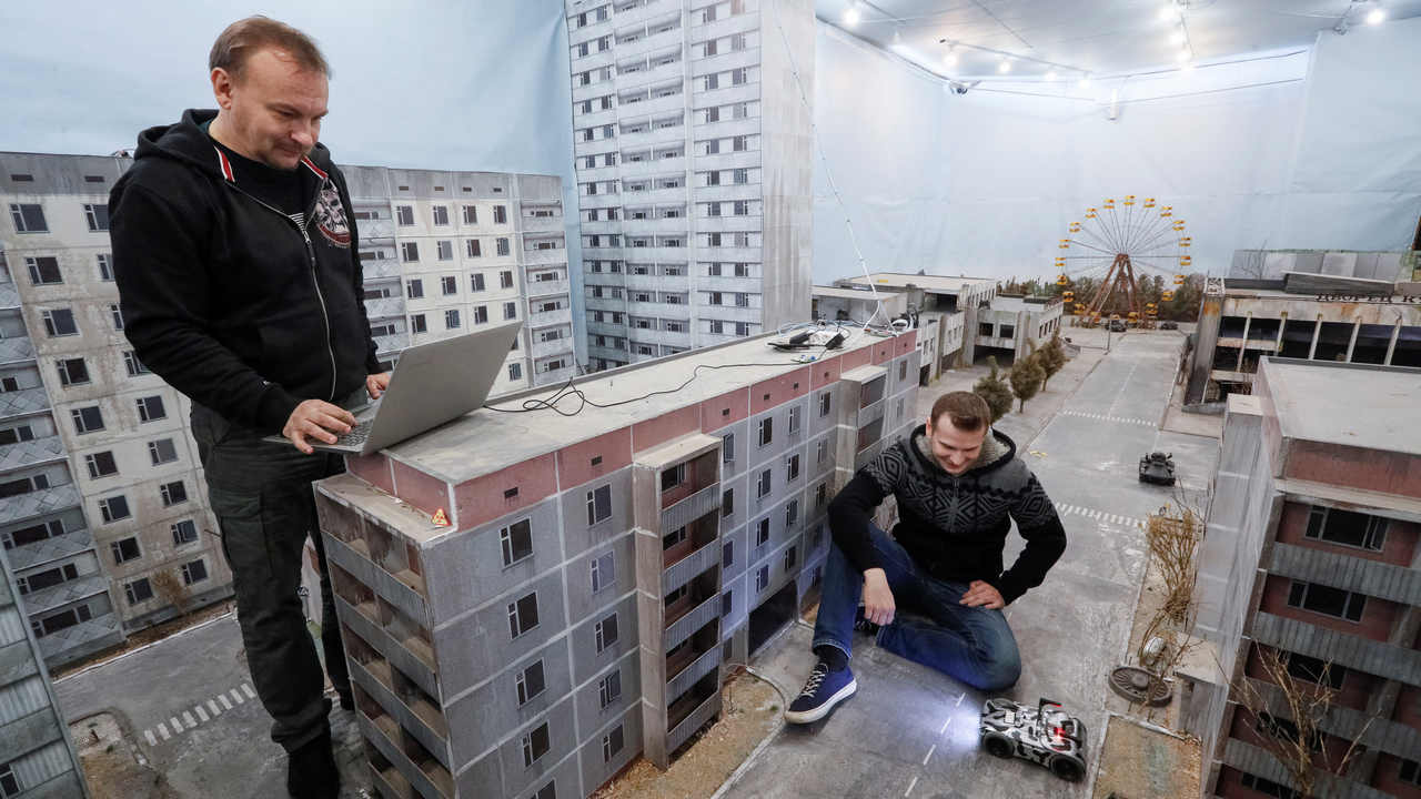 Co-founders of the 'Isotopium: Chernobyl' game Sergey Beskrestnov and Alexey Fateyev. Reuters