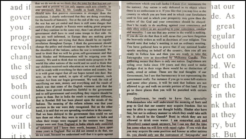Pages of a speech taken from a book by Saifuddin son, Taufeeq Kitchlew. Image via Beneath the Ink