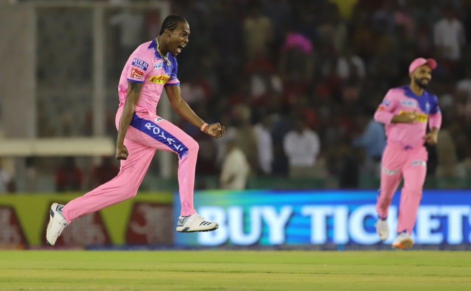 Rajasthan Royals' Jofra Archer had an excellent outing with the ball bagging three wickets for 15 runs including the key wicket of Chris Gayle. Sportzpics