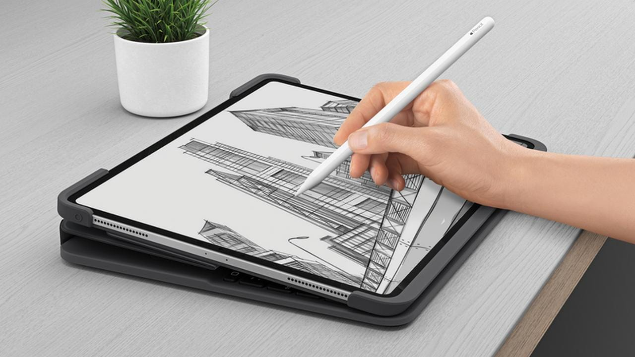 There are several different configurations you can use with the Slim Folio Pro but not as many as Apple's case. Image: Logitech