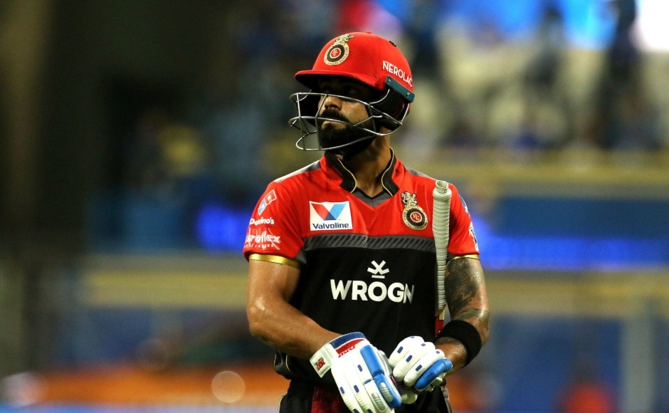 After being put into bat, RCB lost their skipper, Virat Kohli, at the start of the third over. MI quick Jason Behrendorff claimed the prized wicket of Kohli. Sportzpics