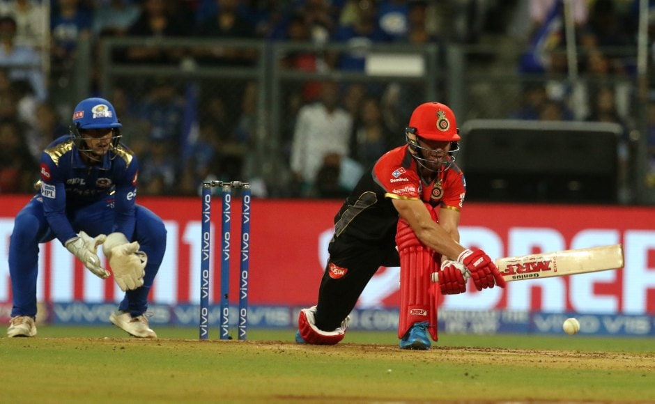 AB de Villiers shouldered the responsibility of RCB's innings top-scoring with 75. His efforts along with Moeen Ali's half-century steered visitors to 171/7 in their 20 overs. Sportzpics