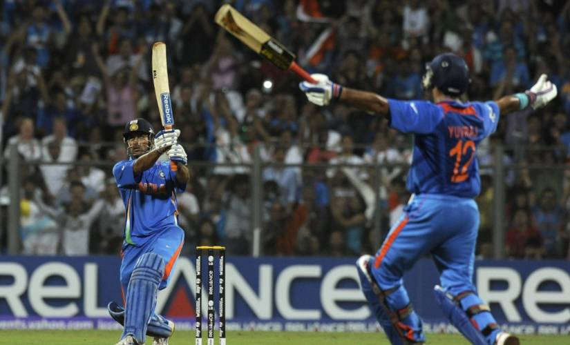 MS Dhoni's 91 not out in 2011 World Cup final helped India end the 28-year wait. AFP
