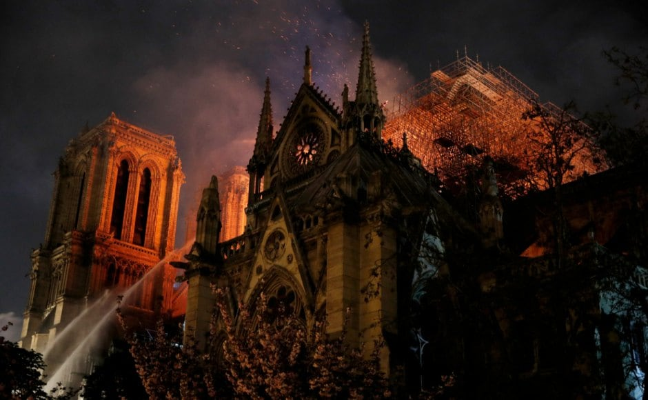 A massive fire consumed France's Notre-Dame Cathedral on Monday, gutting the roof of the Paris landmark. Firefighters saved the main bell towers and outer walls from collapse before bringing the blaze under control. Reuters
